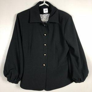 CABI Black Abott Blazer Blousen Sleeves Gold Sz 8
